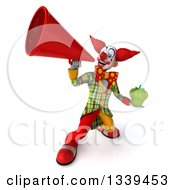 Clipart Of A 3d Funky Clown Holding A Green Bell Pepper And Announcing Up To The Left With A Megaphone Royalty Free Illustration