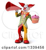 Clipart Of A 3d Funky Clown Holding A Pink Frosted Cupcake And Announcing With A Megaphone Royalty Free Illustration