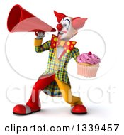 Clipart Of A 3d Funky Clown Holding A Pink Frosted Cupcake And Announcing With A Megaphone 2 Royalty Free Illustration