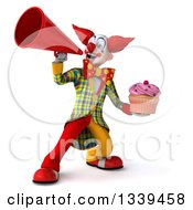 Clipart Of A 3d Funky Clown Holding A Pink Frosted Cupcake And Announcing With A Megaphone 3 Royalty Free Illustration