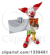 Clipart Of A 3d Funky Clown Holding Up And Pointing To An Envelope Royalty Free Illustration