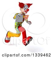 Clipart Of A 3d Funky Clown Holding An Envelope And Sprinting To The Right Royalty Free Illustration