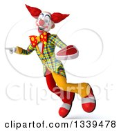 Clipart Of A 3d Funky Clown Holding A Beef Steak Flying And Pointing Royalty Free Illustration