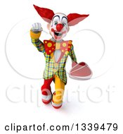 Clipart Of A 3d Funky Clown Holding A Beef Steak And Flying Royalty Free Illustration