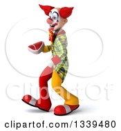 Clipart Of A 3d Funky Clown Holding A Beef Steak And Walking To The Left Royalty Free Illustration