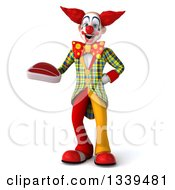 Clipart Of A 3d Funky Clown Holding A Beef Steak Royalty Free Illustration