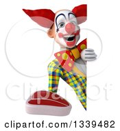 Clipart Of A 3d Funky Clown Holding A Beef Steak Around A Sign Royalty Free Illustration