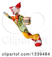 Clipart Of A 3d Funky Clown Holding A Double Cheeseburger And Flying Up To The Left Royalty Free Illustration