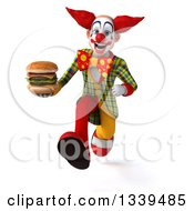 Clipart Of A 3d Funky Clown Holding A Double Cheeseburger And Sprinting Royalty Free Illustration