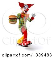 Clipart Of A 3d Funky Clown Holding A Double Cheeseburger Walking Slightly To The Right And Waving Royalty Free Illustration