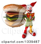 Clipart Of A 3d Funky Clown Holding Up A Double Cheeseburger Royalty Free Illustration
