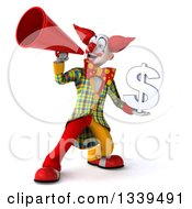 Clipart Of A 3d Funky Clown Holding A Dollar Currency Symbol And Using A Megaphone Royalty Free Illustration