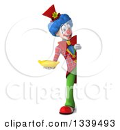 Clipart Of A 3d Full Length Colorful Clown Holding A Banana And Looking Around A Sign Royalty Free Illustration