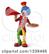 Clipart Of A 3d Colorful Clown Holding A Pizza And Announcing With A Megaphone Royalty Free Illustration