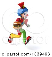 Clipart Of A 3d Colorful Clown Holding A Double Cheeseburger And Sprinting To The Right Royalty Free Illustration