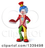 Clipart Of A 3d Colorful Clown Holding A Beef Steak Royalty Free Illustration