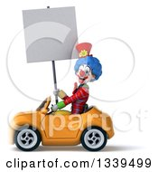 Clipart Of A 3d Colorful Clown Holding A Blank Sign And Driving A Yellow Convertible Car 2 Royalty Free Illustration