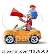Clipart Of A 3d Colorful Clown Announcing With A Megaphone And Driving A Fast Yellow Convertible Car Royalty Free Illustration
