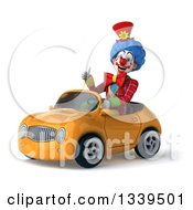 Clipart Of A 3d Colorful Clown Giving A Thumb Up And Driving A Yellow Convertible Car Royalty Free Illustration