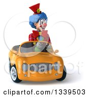 Clipart Of A 3d Colorful Clown Driving A Yellow Convertible Car Royalty Free Illustration