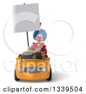 Clipart Of A 3d Colorful Clown Holding A Blank Sign And Driving A Yellow Convertible Car Royalty Free Illustration