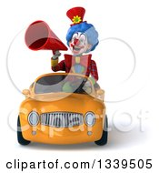 Clipart Of A 3d Colorful Clown Announcing With A Megaphone And Driving A Yellow Convertible Car Royalty Free Illustration