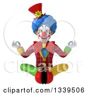 Clipart Of A 3d Colorful Clown Meditating Royalty Free Illustration