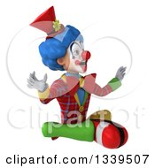Clipart Of A 3d Surprised Colorful Clown Facing Slightly Right And Meditating Royalty Free Illustration
