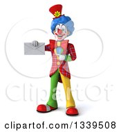 Clipart Of A 3d Colorful Clown Holding And Pointing To An Envelope Royalty Free Illustration