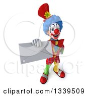 Clipart Of A 3d Colorful Clown Holding Up An Envelope Royalty Free Illustration