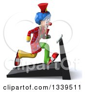 Clipart Of A 3d Colorful Clown Facing Right And Sprinting On A Treadmill Royalty Free Illustration