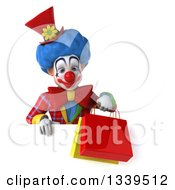 Clipart Of A 3d Colorful Clown Holding Shopping Bags And Looking Down Over A Sign Royalty Free Illustration
