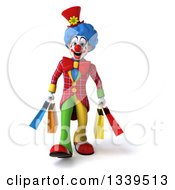 Clipart Of A 3d Colorful Clown Carrying Shopping Bags Royalty Free Illustration