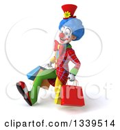Clipart Of A 3d Colorful Clown Carrying Shopping Bags And Speed Walking To The Left Royalty Free Illustration