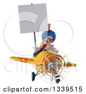 Clipart Of A 3d Colorful Clown Aviator Pilot Holding A Blank Sign And Flying A Yellow Plane 3 Royalty Free Illustration
