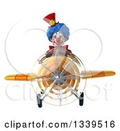 Clipart Of A 3d Colorful Clown Aviator Pilot Flying A Yellow Plane Royalty Free Illustration