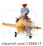 Clipart Of A 3d Colorful Clown Aviator Pilot Flying A Yellow Plane 2 Royalty Free Illustration
