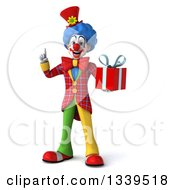Clipart Of A 3d Colorful Clown Holding Up A Finger And A Gift Royalty Free Illustration