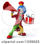 Clipart Of A 3d Colorful Clown Holding A Gift And Announcing With A Megaphone Royalty Free Illustration