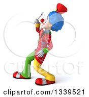 Clipart Of A 3d Colorful Clown Facing Left Looking Up And Searching With A Magnifying Glass Royalty Free Illustration