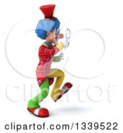 Clipart Of A 3d Colorful Clown Walking To The Right And Searching With A Magnifying Glass Royalty Free Illustration