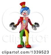 Clipart Of A 3d Colorful Clown Working Out With Dumbbells Royalty Free Illustration