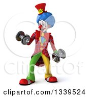 Clipart Of A 3d Colorful Clown Working Out Doing Bicep Curls With Dumbbells Royalty Free Illustration