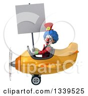 Clipart Of A 3d Colorful Clown Aviator Pilot Holding A Blank Sign And Flying A Yellow Plane Royalty Free Illustration