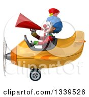 Clipart Of A 3d Colorful Clown Aviator Pilot Announcing With A Megaphone And Flying A Yellow Plane Royalty Free Illustration