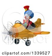 Clipart Of A 3d Colorful Clown Aviator Pilot Flying A Yellow Plane 3 Royalty Free Illustration