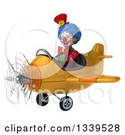 Clipart Of A 3d Colorful Clown Aviator Pilot Flying A Yellow Plane 4 Royalty Free Illustration