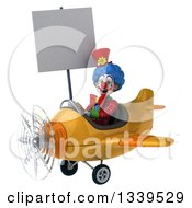 Clipart Of A 3d Colorful Clown Aviator Pilot Holding A Blank Sign And Flying A Yellow Plane 2 Royalty Free Illustration