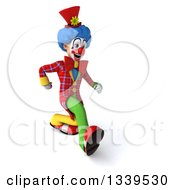 Clipart Of A 3d Colorful Clown Speed Walking Slightly To The Right Royalty Free Illustration
