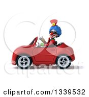 Clipart Of A 3d Colorful Clown Wearing Sunglasses Giving A Thumb Up And Driving A Red Convertible Car 2 Royalty Free Illustration